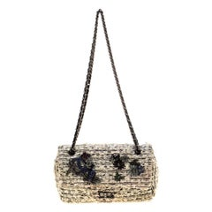 Chanel White/Black Garden Charms Tweed 2.55 Reissue Flap Shoulder Bag
