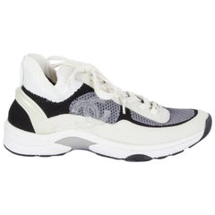CHANEL white black grey nylon CRUISE 2020 Sneakers Shoes 39