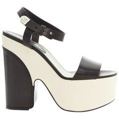CHANEL white black leather ankle CC metal strap platform sandals heels EU38 US8