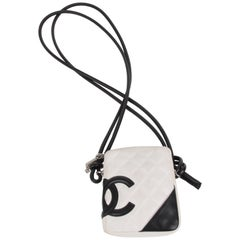 Chanel White/Black Quilted Leather Cambon Crossbody Bag