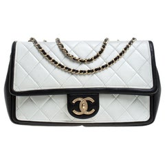 Chanel White/Black Quilted Leather Medium Graphic Flap Bag