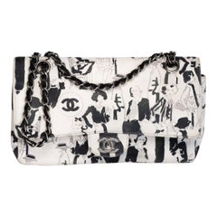 Chanel White/Black Sketch Canvas Karl Lagerfeld Classic Double Flap Bag