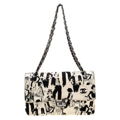 Chanel White/Black Sketch Canvas Karl Lagerfeld Limited Edition Classic Double F