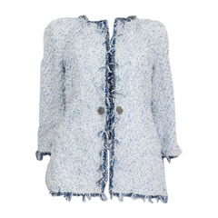 CHANEL white & blue 18P Lesange Tweed Blazer Jacket 38 S