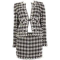 CHANEL white & blue cotton PYRAMID STUDDED Boucle Tweed Blazer Jacket 36 XS