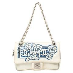 Chanel White/Blue Floral Print Nylon Sport CC Flap Bag