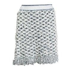 CHANEL white & blue LUREX FRINGED HEM Skirt 38 S