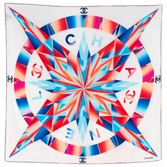 Chanel White Blue Red & Pink Compass Print Square Silk Scarf