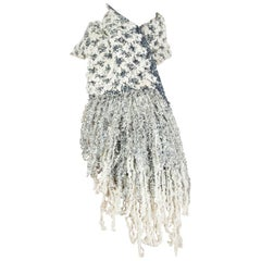 CHANEL white blue silver LUREX FRINGED MUFFLER Scarf