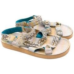 Chanel White & Blue Suede Chain Strap Sandals 36