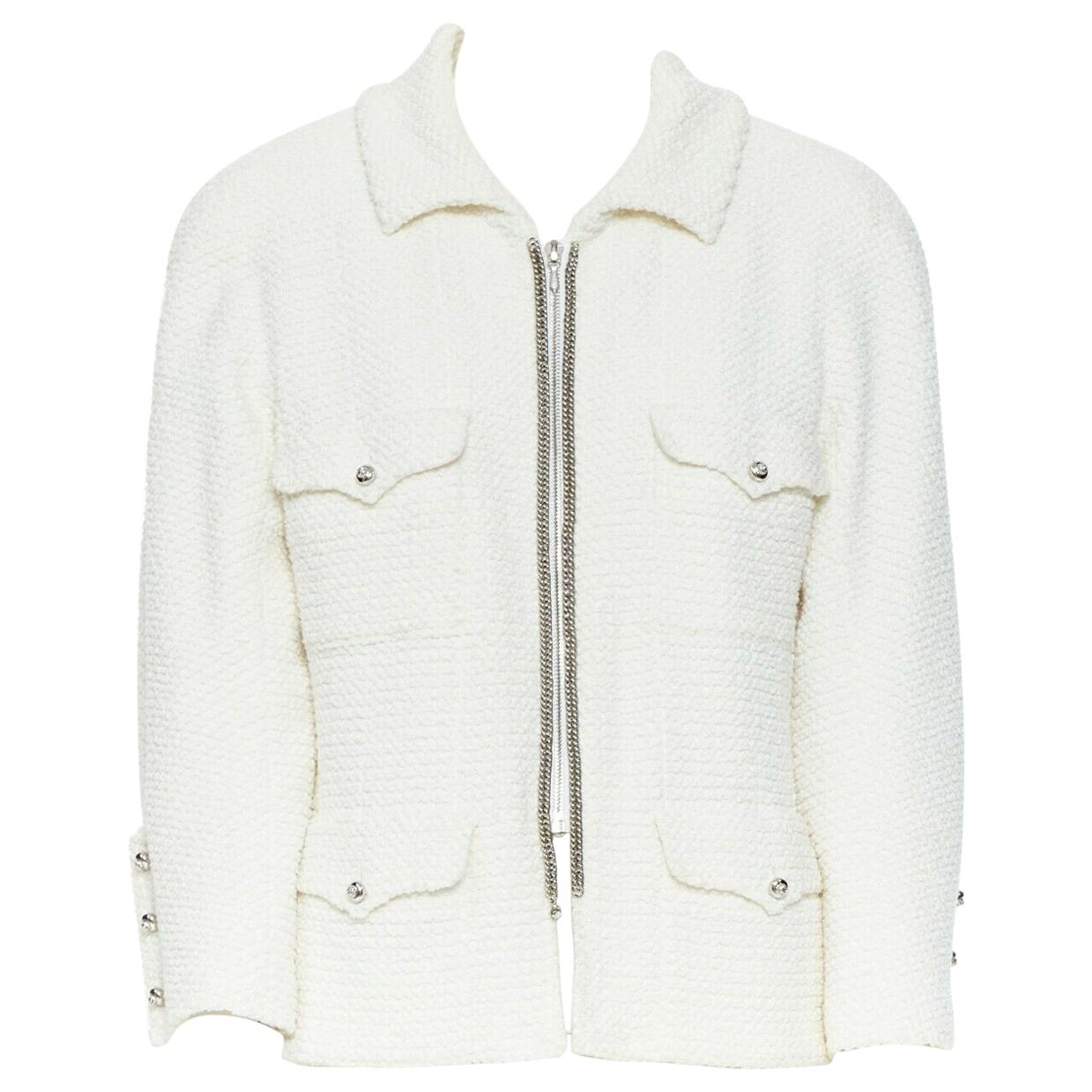 CHANEL white boucle 1piece shoulder 4 pocket 3/4 sleeve silver chain jacket FR44