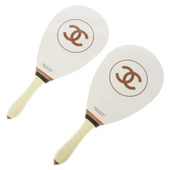 Chanel White Brown Wood Men's Women's Novelty Game Ping Pong Racquets and Balls