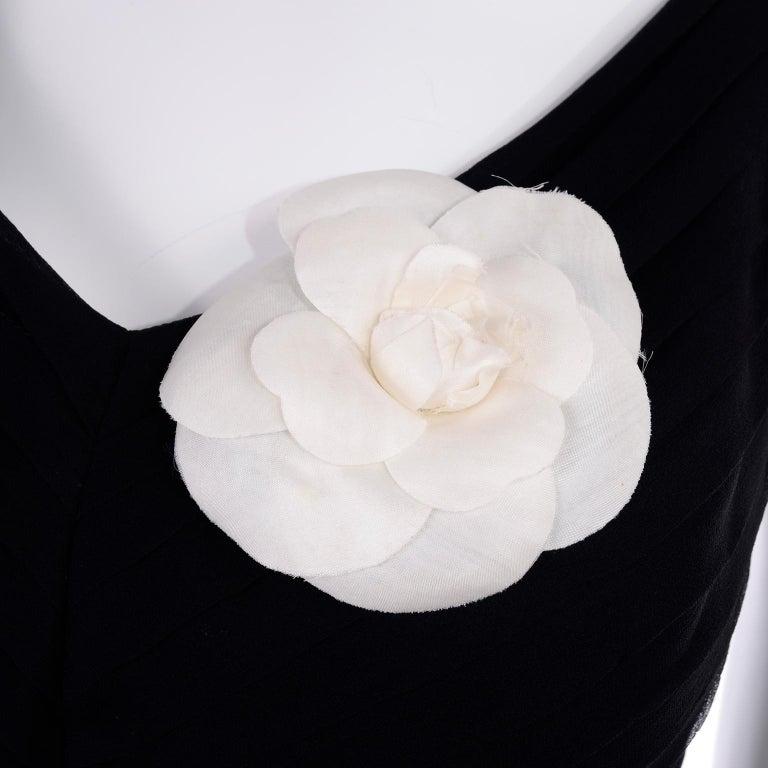 Women's or Men's Chanel White Camellia Flower Pin in Original Chanel Gift Box For Sale