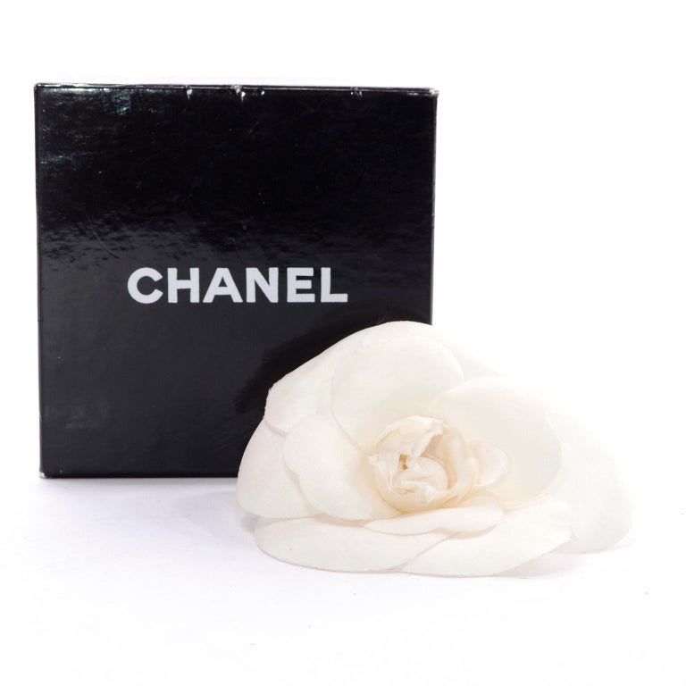 Chanel White Camellia Flower Pin in Original Chanel Gift Box For Sale 1