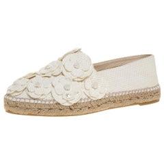 Chanel White Canvas CC Camellia Espadrilles Size 41