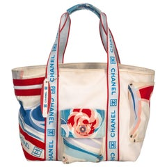 Chanel White Canvas Fabric Tricolor Sports Line Tote France LARGE