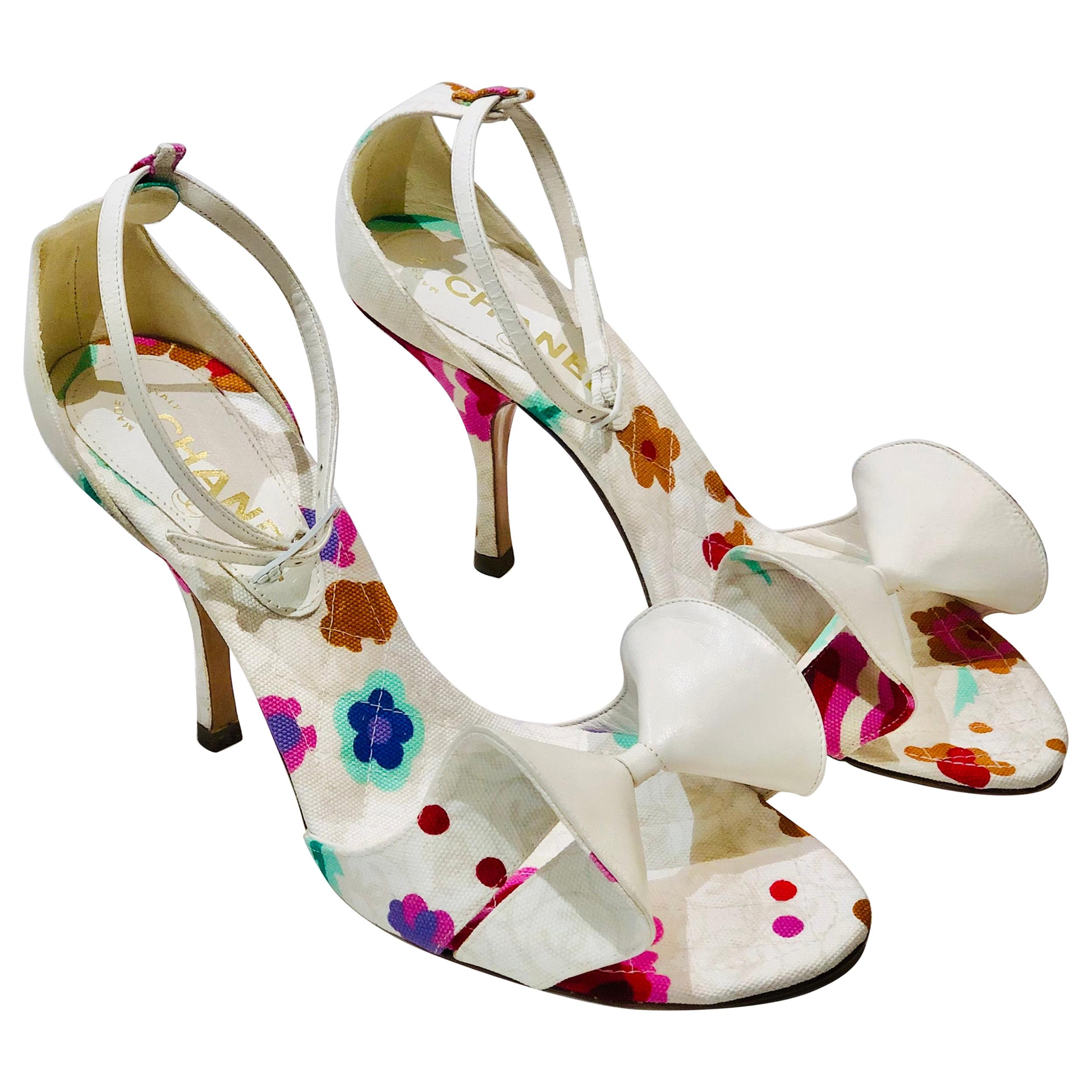 Chanel White Canvas Leather Bows Floral Print Strap Sandals In Heels