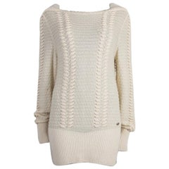 CHANEL white cashmere Boatneck Sweater 40 M