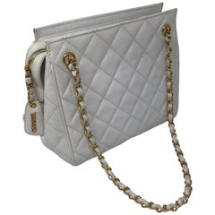 Chanel White Caviar Leather Bag