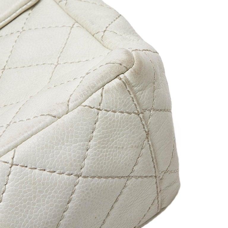 Chanel White Caviar Leather Leather Classic Jumbo Caviar Single Flap Bag France 6