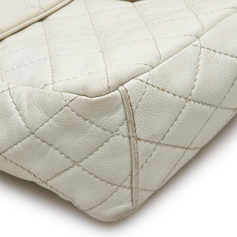Chanel White Caviar Leather Leather Classic Jumbo Caviar Single Flap Bag France 7