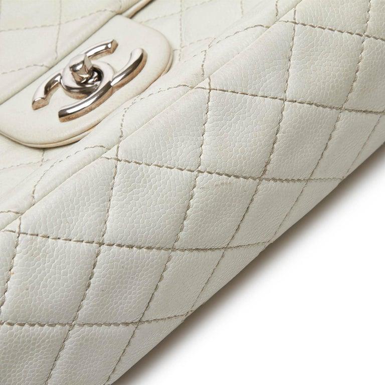Chanel White Caviar Leather Leather Classic Jumbo Caviar Single Flap Bag France 8