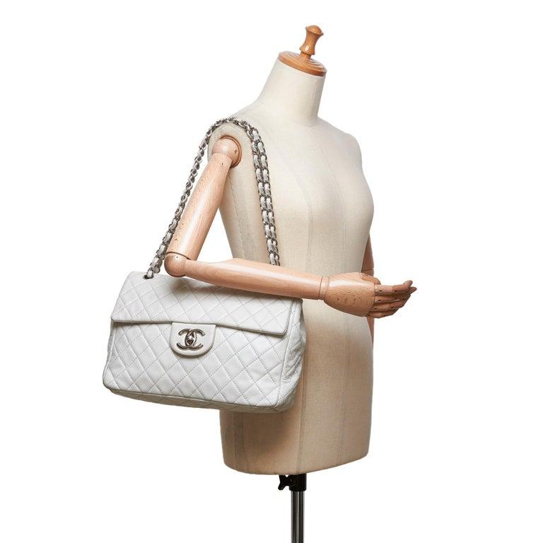Chanel White Caviar Leather Leather Classic Jumbo Caviar Single Flap Bag France 9