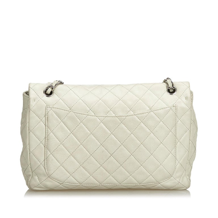Chanel White Caviar Leather Leather Classic Jumbo Caviar Single Flap Bag France In Good Condition In Orlando, FL