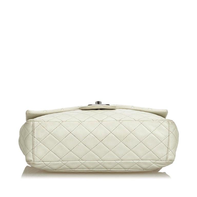 Women's Chanel White Caviar Leather Leather Classic Jumbo Caviar Single Flap Bag France