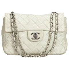Chanel White Caviar Leather Leather Classic Jumbo Caviar Single Flap Bag France