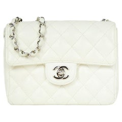 Chanel White Caviar Leather Quilted Mini Square Flap Bag