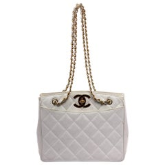 Chanel White Caviar Leather Vintage CC Quilted Tote Bag