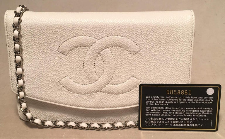 Chanel White Caviar Leather Wallet on Chain WOC Clutch Shoulder Bag For Sale 7