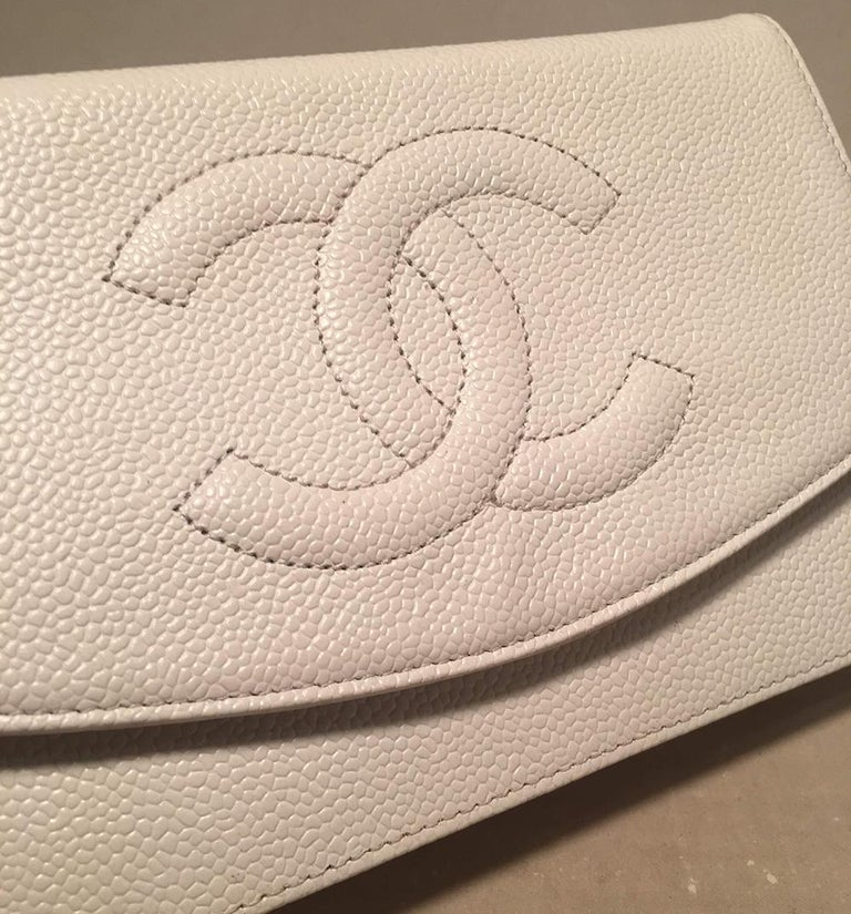 Chanel White Caviar Leather Wallet on Chain WOC Clutch Shoulder Bag For Sale 1
