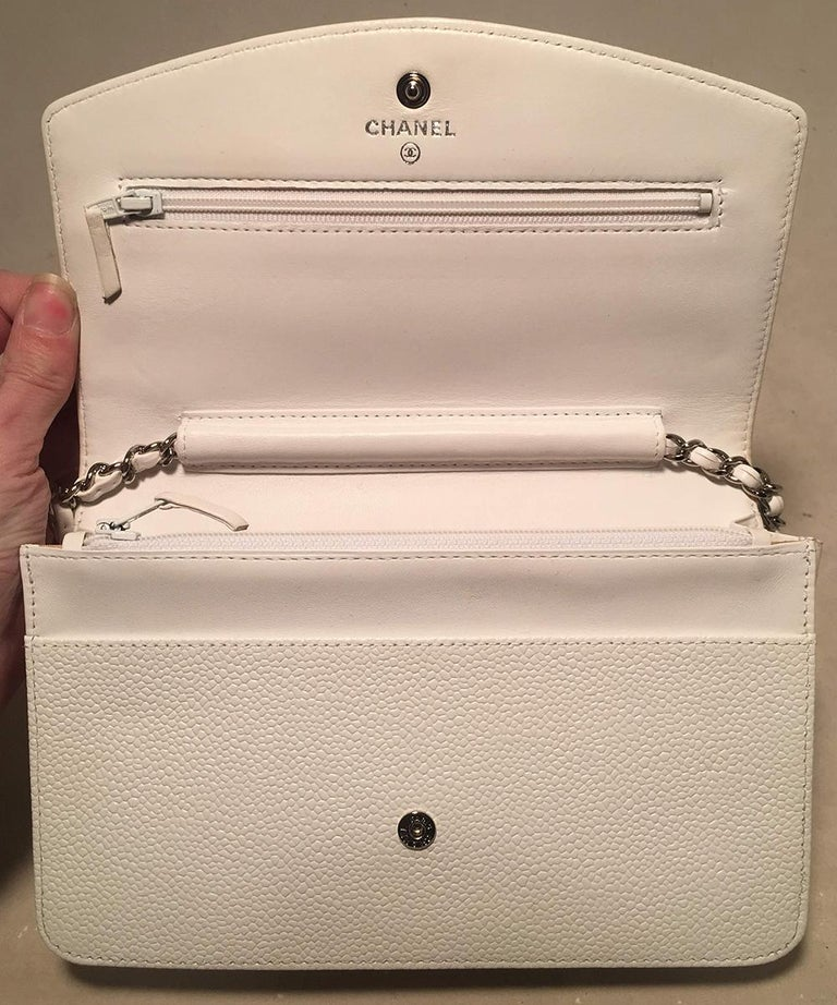 Chanel White Caviar Leather Wallet on Chain WOC Clutch Shoulder Bag For Sale 2