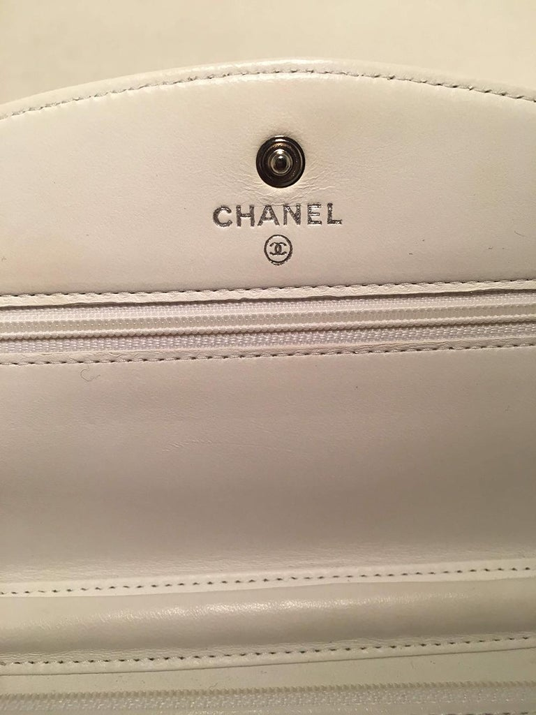 Chanel White Caviar Leather Wallet on Chain WOC Clutch Shoulder Bag For Sale 5