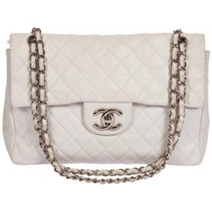 Chanel White Caviar Maxi Single Flap Bag