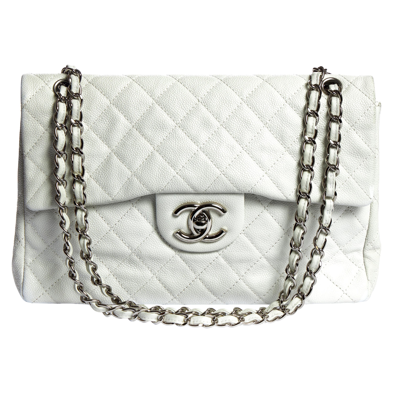 Chanel White Caviar Maxi Single Flap