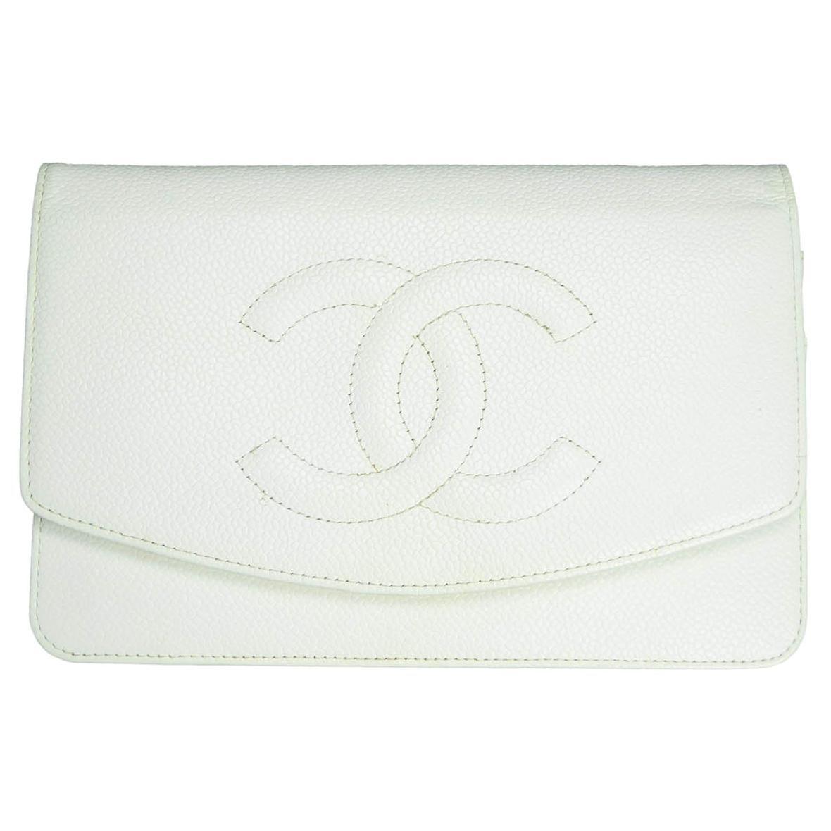 Chanel White Caviar Timeless CC Wallet on Chain WOC Crossbody Bag