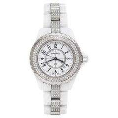Chanel White Ceramic Diamond J12 Women's Wristwatch 34 mm