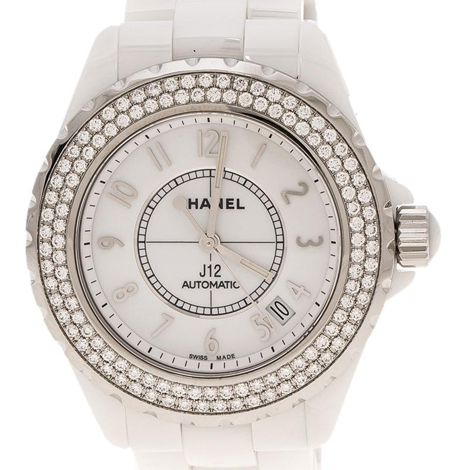 1a6b0e61dd27d Chanel White Ceramic Stainless Steel Diamond J12 Women s Wristwatch 38 mm  For Sale at 1stdibs