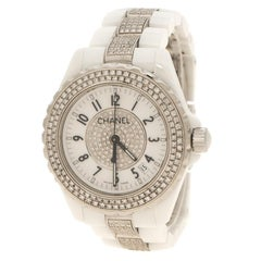Chanel White Ceramic Stainless Steel Diamond J12 Women's Wristwatch 38 mm