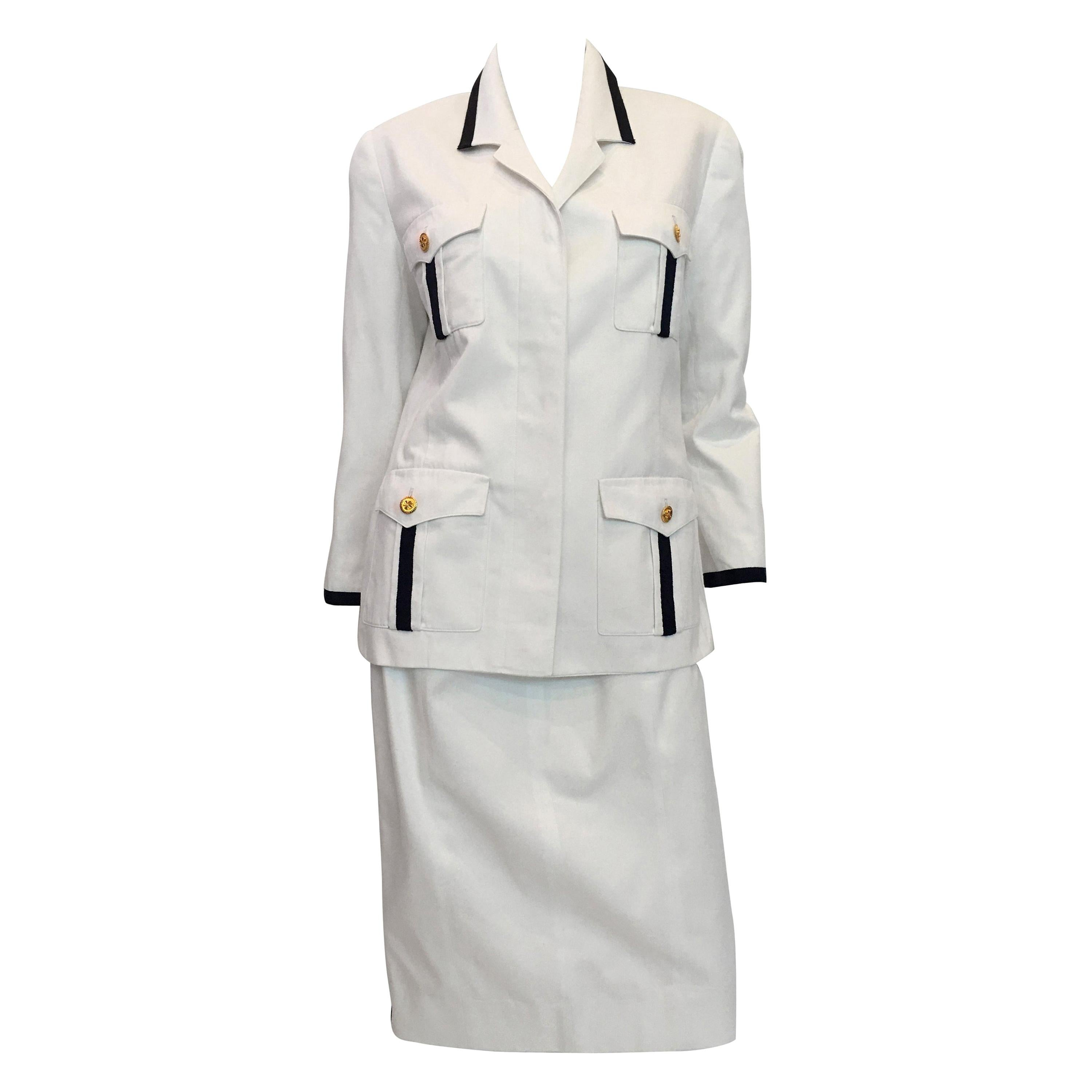 Chanel White Cotton 2 pc Skirt Suit with Navy Blue Trim