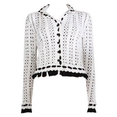 CHANEL white cotton CROCHET & ORGANZA Cropped Jacket 38 S