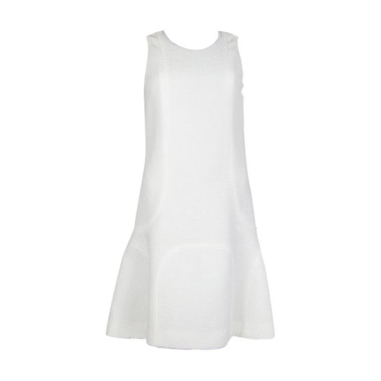 CHANEL white cotton RIBBE TRUMPET Sleeveless Dress 36