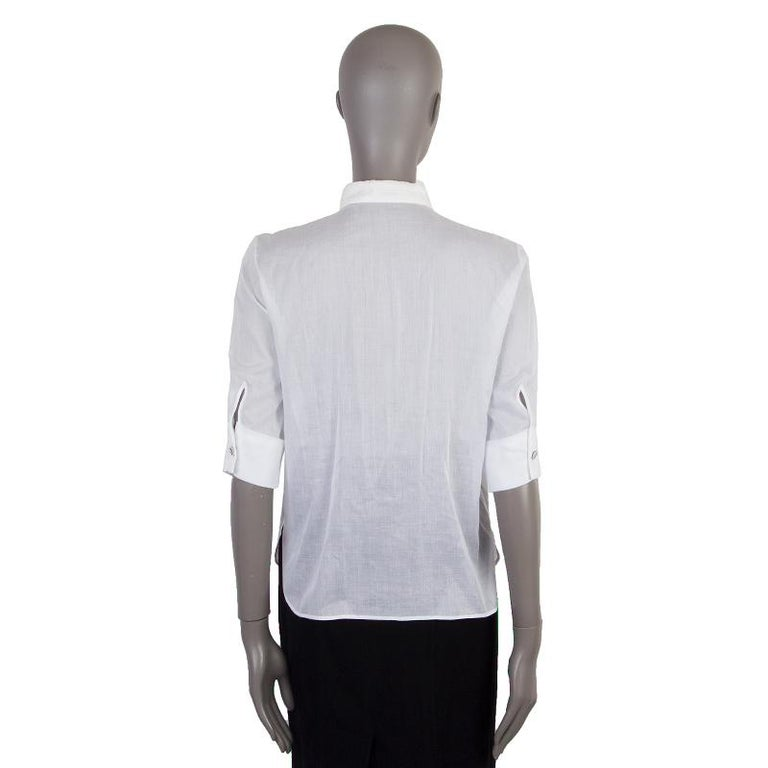 Gray CHANEL white cotton voile Short Sleeve Tuxedo Shirt XS For Sale