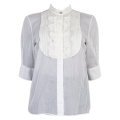 CHANEL white cotton voile Short Sleeve Tuxedo Shirt XS