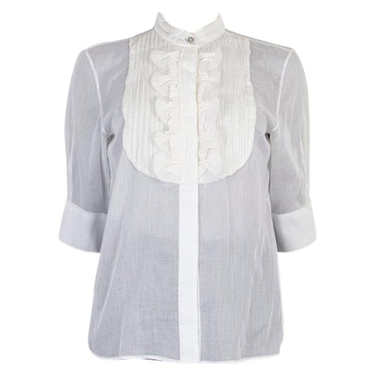 CHANEL white cotton voile Short Sleeve Tuxedo Shirt XS For Sale