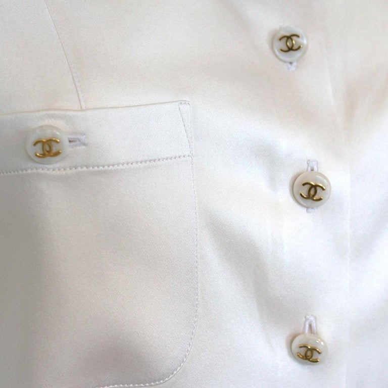 Red Chanel White Cream Silk Shirt  For Sale