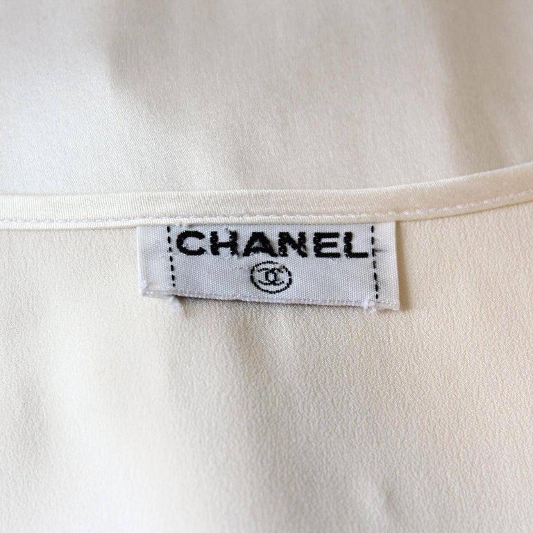 Chanel White Cream Silk Shirt  For Sale 2